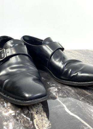Туфли фирменные leake, кожаные, черные