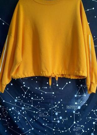Желтый укороченный свитшот
