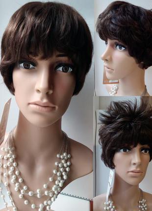 Женский парик короткий под мальчика, стрижка, коричневый, перука, wigs недорого