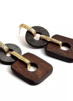 Деревянные серьги, эко серьги