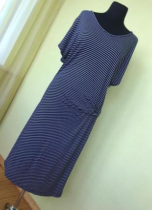 Трикотажное платье вискоза в полоску морячка