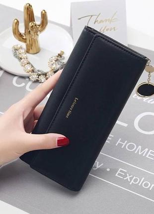 Женский кошелек чёрный портмоне кошелёк гаманець жіночий клатч эко кожа
