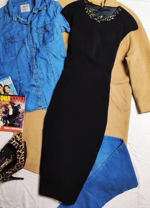 Ted baker платье чёрное карандаш футляр по фигуре миди с камнями воротником оригинал7 фото