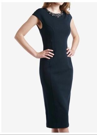 Ted baker платье чёрное карандаш футляр по фигуре миди с камнями воротником оригинал2 фото