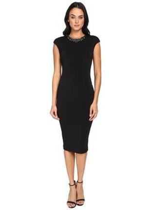 Ted baker платье чёрное карандаш футляр по фигуре миди с камнями воротником оригинал3 фото