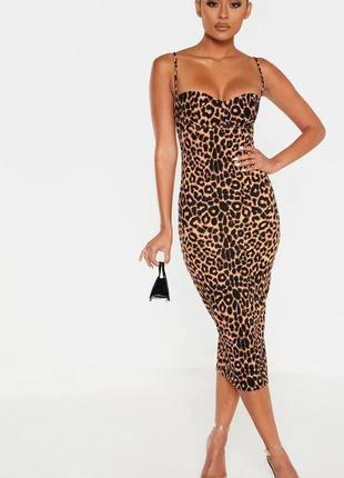 Pretty little thing платье леопардовое миди карандаш футляр по фигуре новое на бретельках1 фото