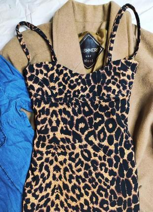 Pretty little thing платье леопардовое миди карандаш футляр по фигуре новое на бретельках8 фото