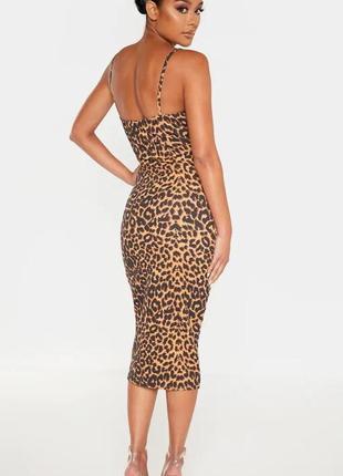 Pretty little thing платье леопардовое миди карандаш футляр по фигуре новое на бретельках4 фото