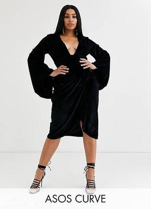 Asos асос платье велюровое велюр чёрное миди большое батальное по фигуре с длинным