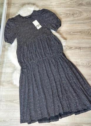Шикарное миди макси платье ярусное коттоновое в горох zara