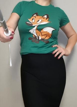 Зелёная футболка с лисичкой bella+canvas м-l/10-12 размер