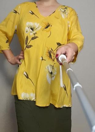 Желтая туника-блуза из вискозы masai 18-20 размер