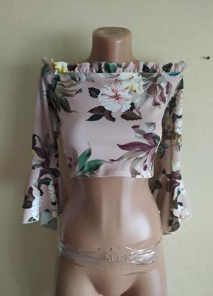 Топ топик блуза блузка персиковая разноцветная в цветах