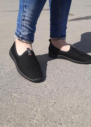 Женские черные слипоны сетка на широкую ногу