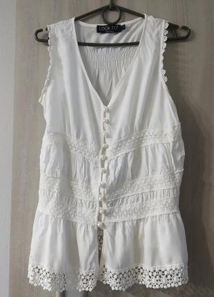 Белая блуза на лето, коттон