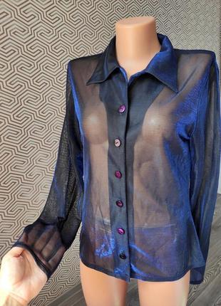 Рубашка блуза прозрачная черная с синим отливом германия оригинал