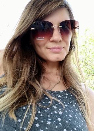 Новые красивые безоправные очки, коричневые