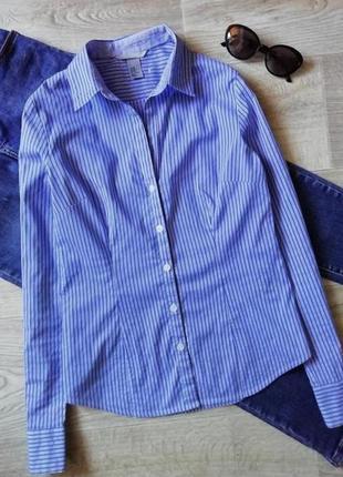 Базовая белая рубашка в синюю полоску, сорочка, блузка, блуза, рубашка в деловом стиле, офисная рубашка