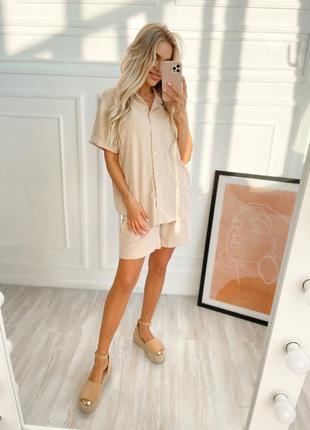Костюм женский летний прогулочный повседневный шорты и рубашка жатка
