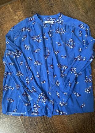 Голубая блуза синяя блуза блуза в цветочный принт брендовая фирменная блуза натуральная блуза samsoe samsoe
