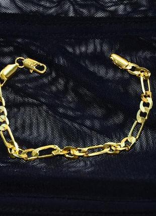 Изящная стильная цепь цепочка на руку под золото с вытянутыми звеньями
