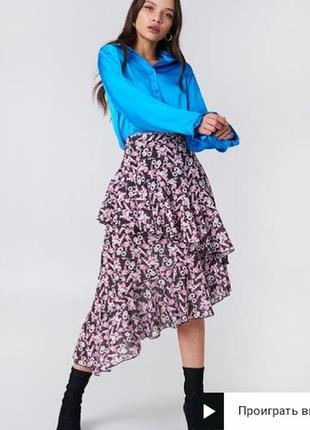 Асимметричная юбка миди с оборками na-kd boho