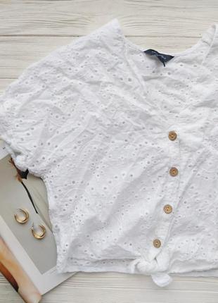 Белый хлопковый топ футболка майка с прошвой прошва вышивка