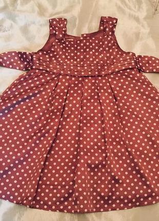 Милое нарядное платье в горох 9 -12 мес