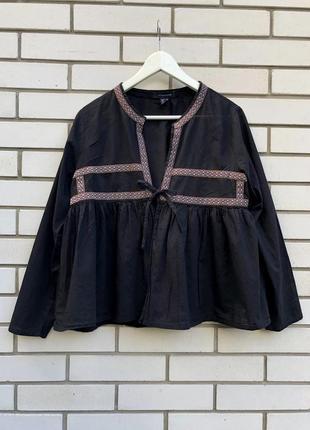 Легкая блуза,вышиванка рубаха с баской и вышивкой в этно,бохо стиле,хлопок atmosphere