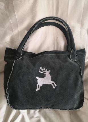 Большая, обьемная замшевая сумка echtes leder, rosi bavaria💣💣🔥🌷🌹