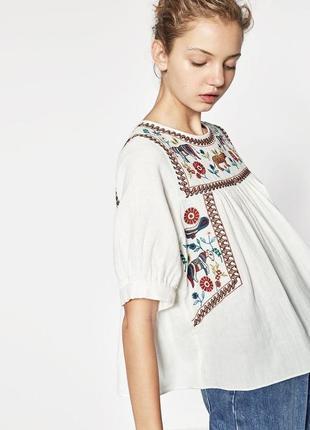 Блузка с вышивкой ,вышиванка в этно бохо стиле zara