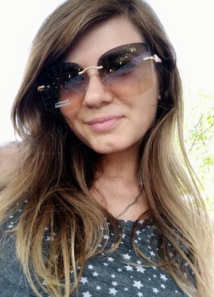 Новые крутые безоправные очки, голубо-желтые