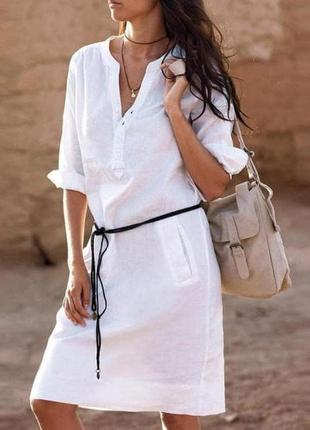 Платье рубашка сафари лен белое кэжуал стиль