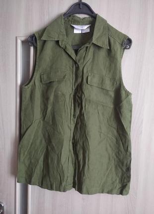 💯% лён рубашка блуза блузка безрукавка короткий рукав оригинал max mara