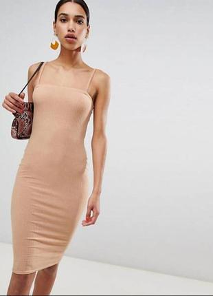 Элегантное платье для дома с глубоким вырезом, в цвете латте, силуэтное миди, новое! boohoo ❤️