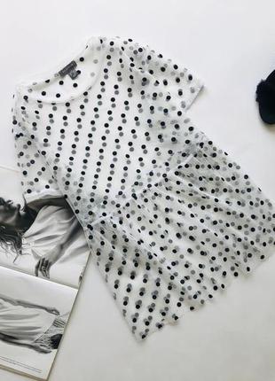 Красивая блуза сетка в горох 12 14