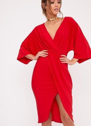 Платье миди prettylittlething червона сукня
