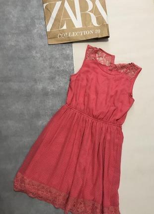 Розовое платье миди в горошек zara