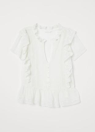 Блузка с вышивкой и оборками h&m р. 38 165/88а