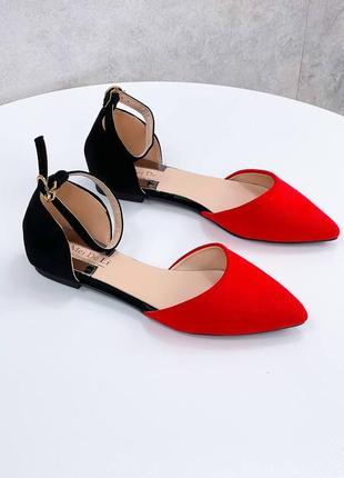 Яркие замшевые женские балетки tina, красный+черный