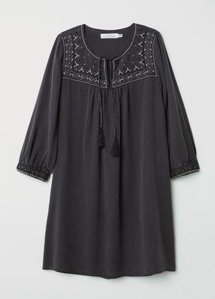 Туника вышиванка  из лиоцелла с вышивкой в этно бохо стиле h&m
