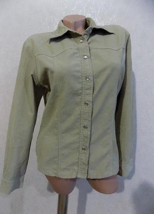 Рубашка на кнопках бежевая вольветовая фирменная street one размер 46-48