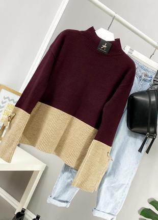Стильный свитер в стиле color block atmosphere