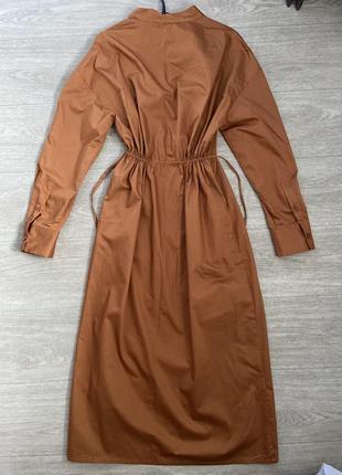 Платье кимоно на запах zara миди хлопковое рубашка новая коллекция