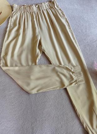 Легкие натуральные брюки джоггеры высокая посадка