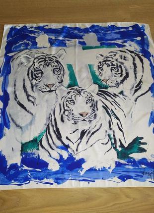 Винтажный подписной платок из натурального шелка