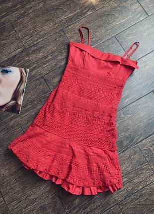Красивое летнее платье сарафан из кружевом вышивкой ришелье