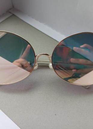Очки солнцезащитные зеркальные розовые с маленькими ручками