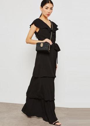 Шикарное качественное черное легкое длинное платье с оборками lost ink