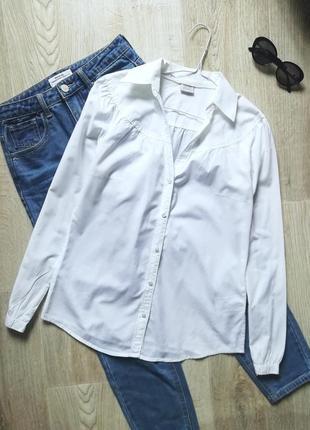 Белоснежная натуральная базовая рубашка, сорочка, блузка, рубашка в деловом стиле, офисная рубашка